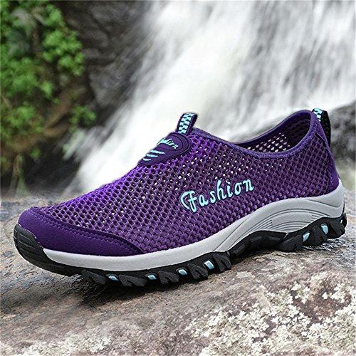 Saguaro Hombres Mujeres Slip On Secado Rápido Aqua Water Zapatos Breathable Mesh Casual Walking Zapatos Purple