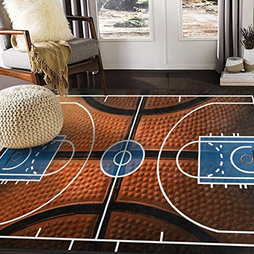 ALAZA Basketball Print Court Sport Area Rug Rugs for Living Room Bedroom 5 3 x4