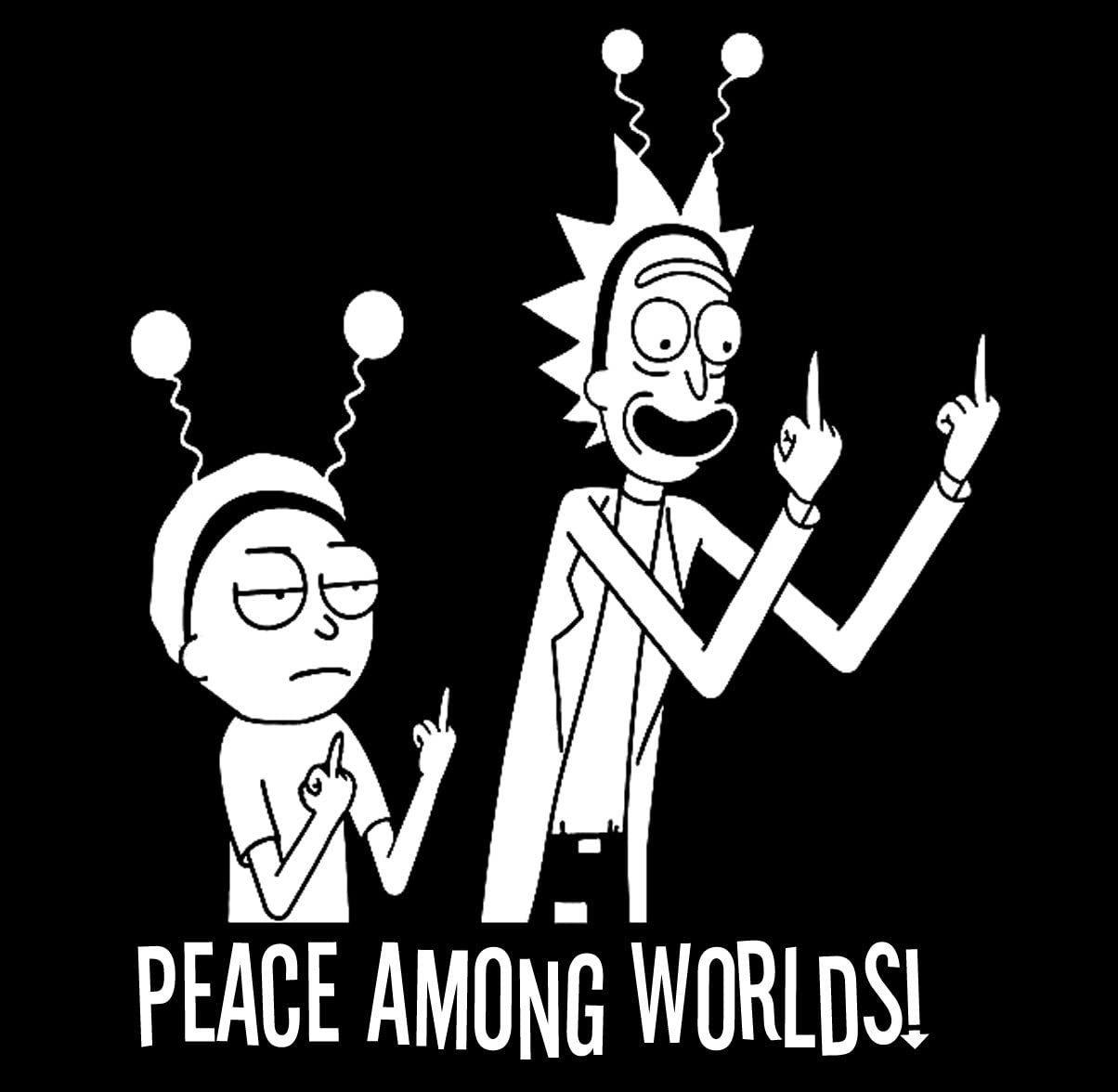 Rick Morty Alien Peace Among Worlds Sticker Morty Decal Laptop