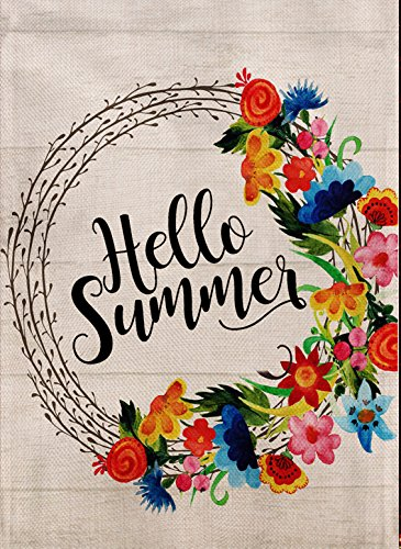 Dyrenson Home Decorative Outdoor Hello Summer Garden Flag Quote Double Sided, Flower House Yard Flag Geraniums Pansies Daisies, Wreath Garden Yard Decorations, Floral Seasonal Outdoor Flag 12.5 x 18