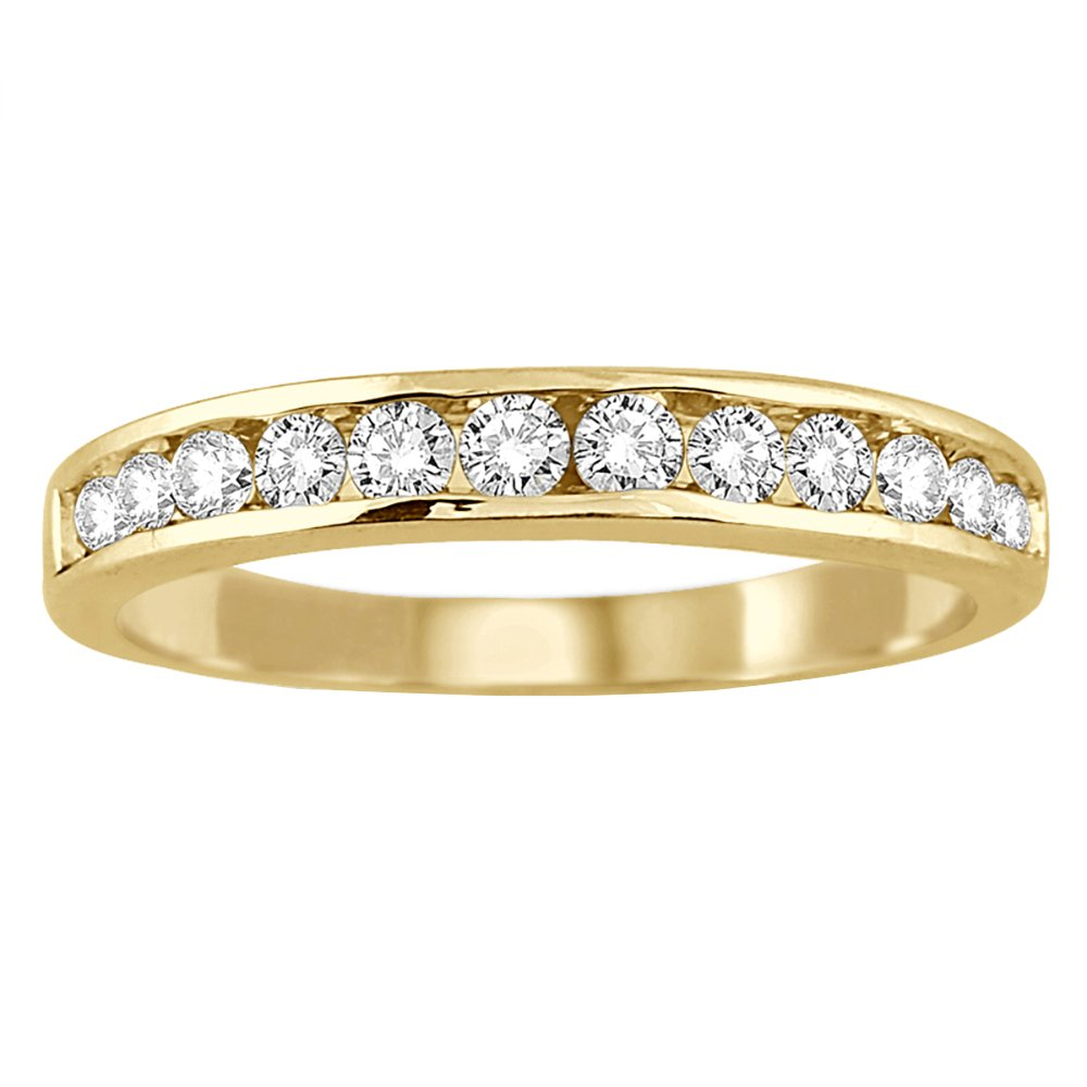 AGS Certified 1/2 Carat TW Channel Set Diamond Band in 10K Yellow Gold