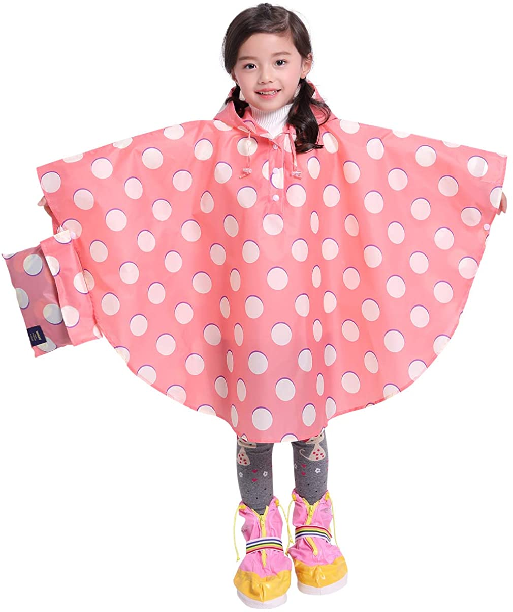 Fits Height 31.4-39.3 Spmor Kids Rain Poncho Hooded Jacket Rain Coat Pink Polka Dot S