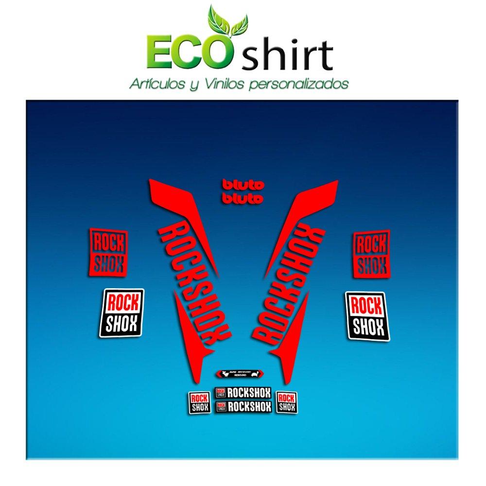 Ecoshirt S5-6Q7G-LIVW Stickers Fork Rock Shox Bluto 2017 Am171 Aufkleber Decals Autocollants Adesivi Forcela Red