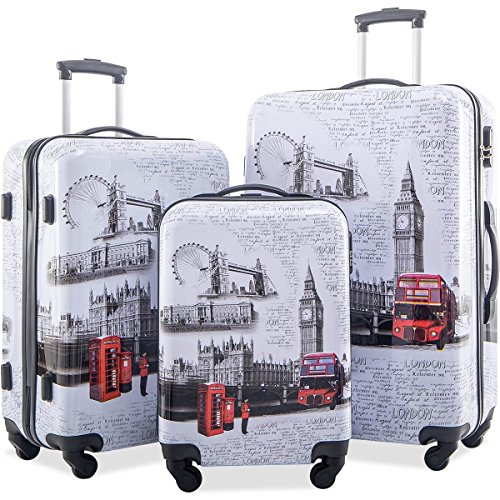 Flieks Graphic Print Luggage Set 3 Piece ABS + PC Spinner Travel Suitcase (London) ()