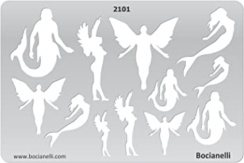Bocianelli Plastic Stencil Template for Graphical Design Drawing Drafting Jewellery Making - Angels, Elfs and Sirens
