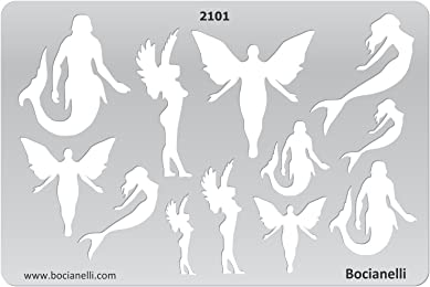 Plastic Stencil Template for Graphical Design Drawing Drafting Jewellery Making - Angels, Elfs and Sirens