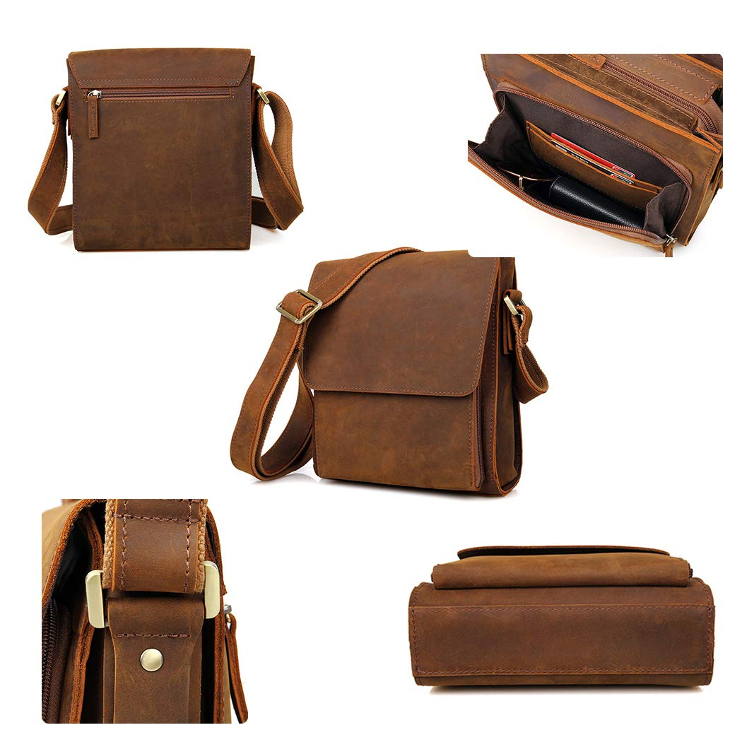 YWY Mens Briefcase Vintage Leather Messenger Bag Shoulder Crossbody Bag College Bag,Brown,227.525.5