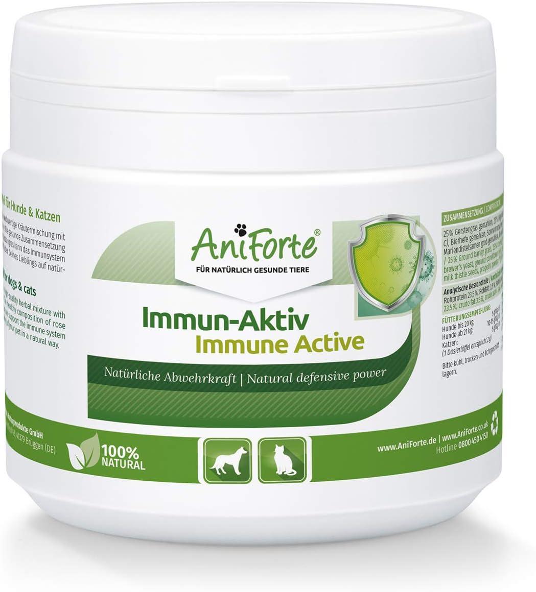 AniForte Immune Active para perros y gatos 250g - mezcla de hierbas para mejorar vitalidad y bienestar, defensas naturales y fortalecer el sistema ...