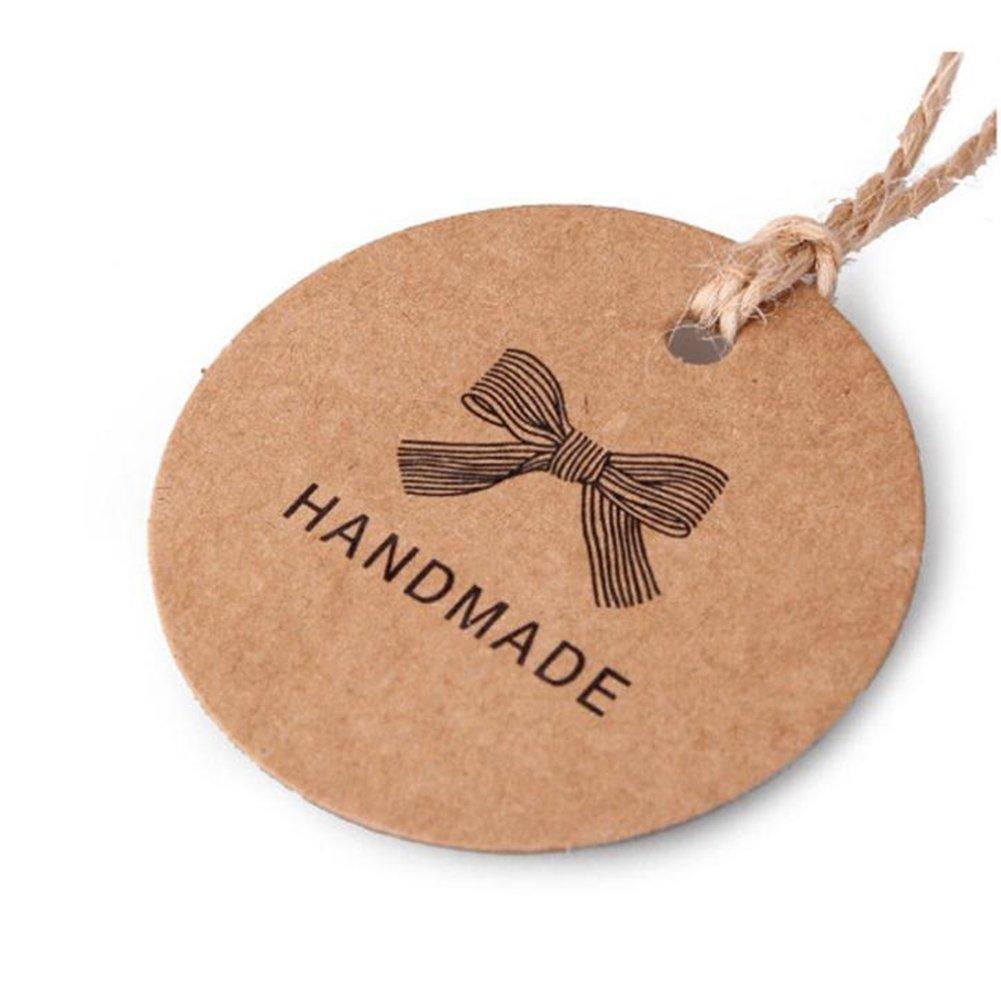 Gysad 100 pz carta kraft etichette regalo Bow modello DIY tag marrone Round Craft cartellini etichette per confezioni regalo, decorazioni per DIY arti e mestieri
