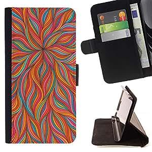 For HTC Desire 820 Case , Flor anaranjada del trullo floral llamas Primavera- la tarjeta de Crédito Slots PU Funda de cuero Monedero caso cubierta de piel