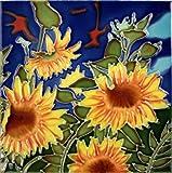 "Decorative Ceramic Art Tile - 8"" x 8"" - Sunflowers Against Blue"