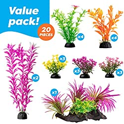 Aquarium Decorations 20 Or 23 Pack Lifelike Plastic Decor Fish Tank Plants, Small to Large (20 Pack)