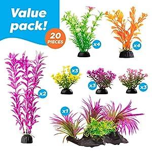 AroPaw Aquarium Decorations 20-30 Pack Lifelike Plastic Decor Fish Tank Plants, Small to Large 11
