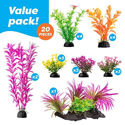 Aquarium Decorations 20 Or 23 Pack Lifelike Plastic Decor Fish Tank Plants, Small to Large (20 Pack)