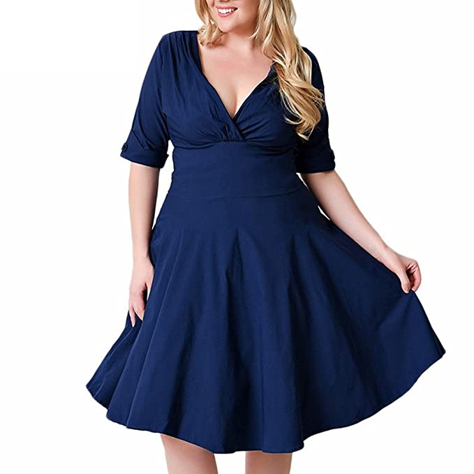 zhxinashu Tallas Grandes Vestido Fiesta Vintage Cintura Plisado Vestido de Oscilación,Azul,XXXL