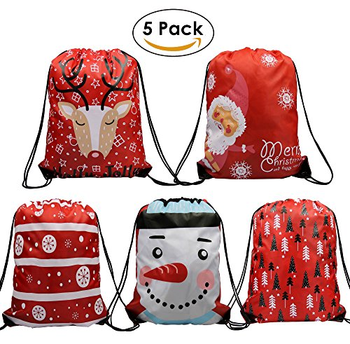 Christmas Drawstring Bags 5 Pack, Santa Sack Backpack for Party Favors Gifts and Candy Themed Christmas Presents