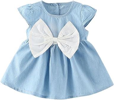 Baby Girls Floral Print Bowknot Short Sleeve Princess Denim Dress Outfit