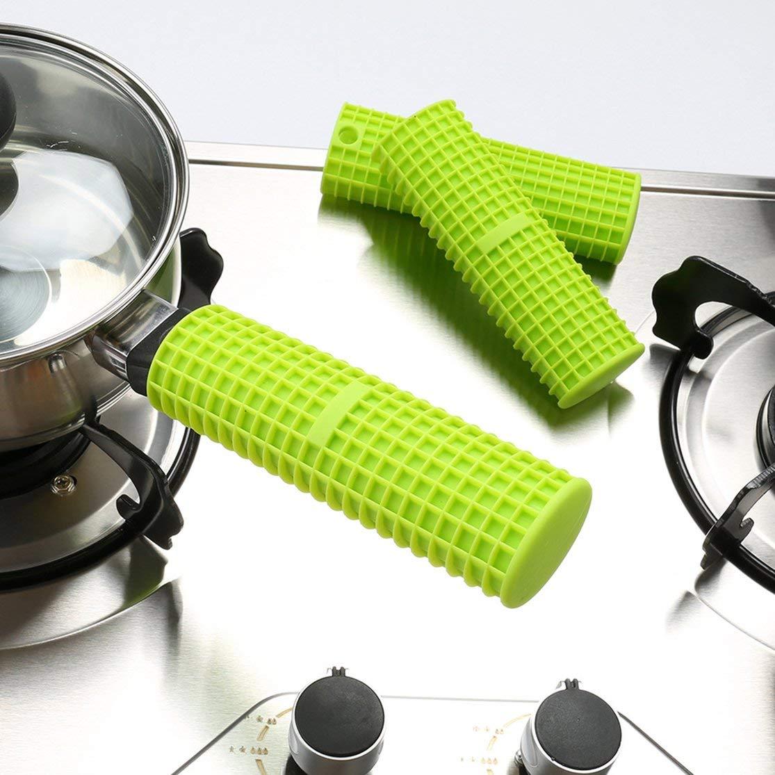 LouiseEvel215 Manija de Olla de Silicona Mango Cazo Soporte Funda Antideslizante Agarre Utensilios de Cocina Utensilios de Cocina Resistentes al Calor Aislamiento Mitones