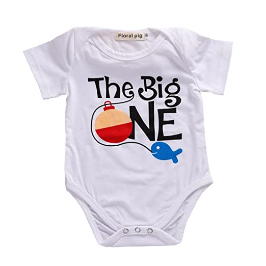 702a04f08 Amazon.com  Newborn Baby Onesie Bodysuit Girl Boy Letter Fish Romper ...