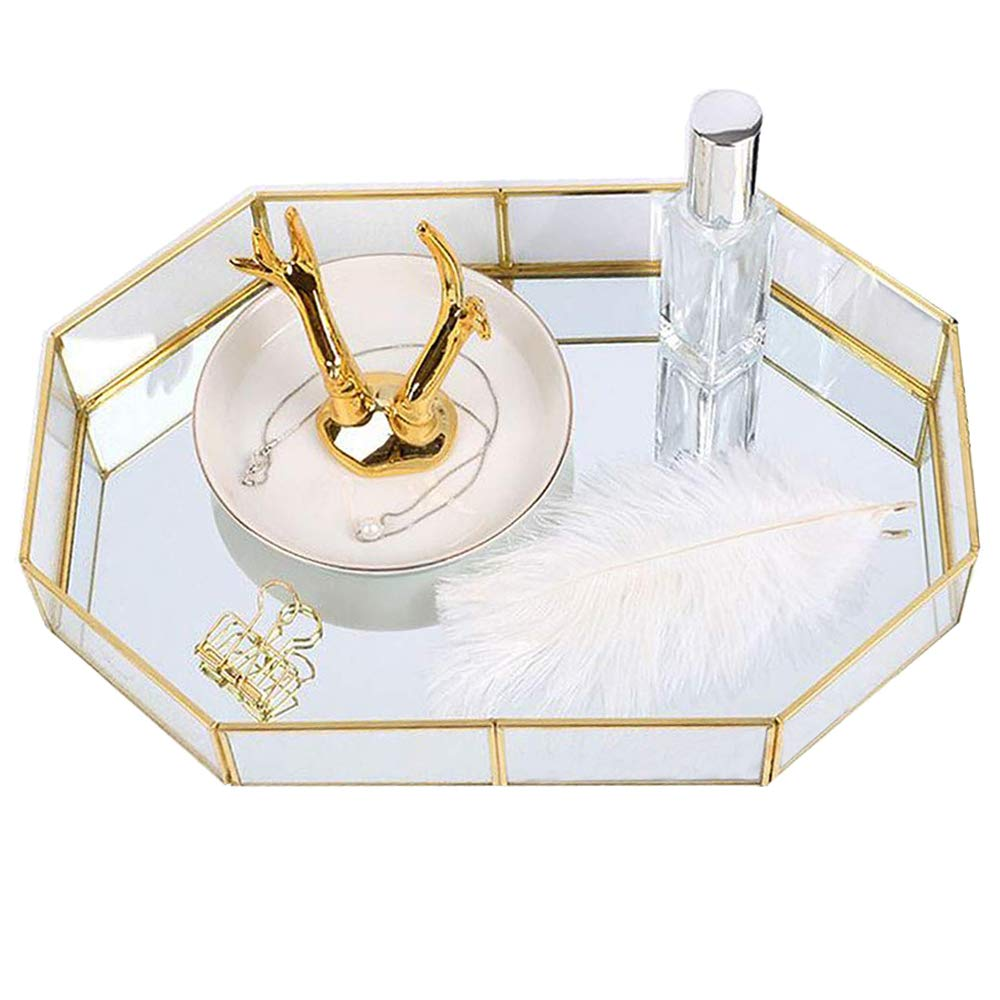 Decorative Metal Mirror Catchall Tray, Polygon Glass Vanity Tray, Dresser Tray, Jewelry Display Tray, Vanity Organizer for Accent Table, Gold Leaf Finish, 12.4x8.5x2 inches by MissionMatch