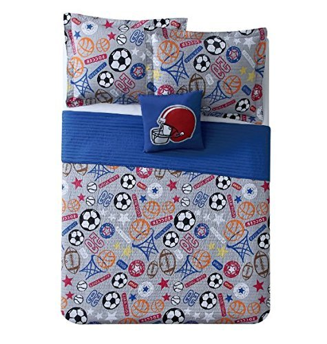 4pc Boys Blue Sports Quilt Full Set, Grey Orange Red White Black Brown, Soccer Ball Football Helmet Basketball Hoops Baseball Player Themed, Stylish Sport Star Inspired Bedding by OTSK