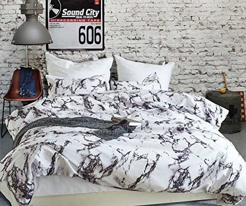 DuShow Flower Pattern Duvet Cover Set - 3-Piece Ultra Soft Double Brushed Microfiber Printed Quilt with Pillows (Queen, Marble) - Double Duvet