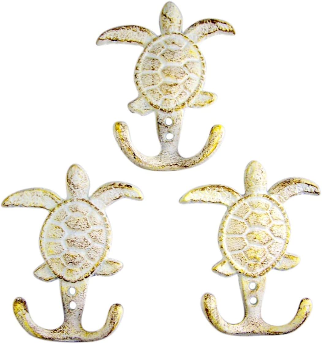 Distressed White Sea Turtle Cast Iron Wall Hook 4 3/4 Inch (Set of 3)