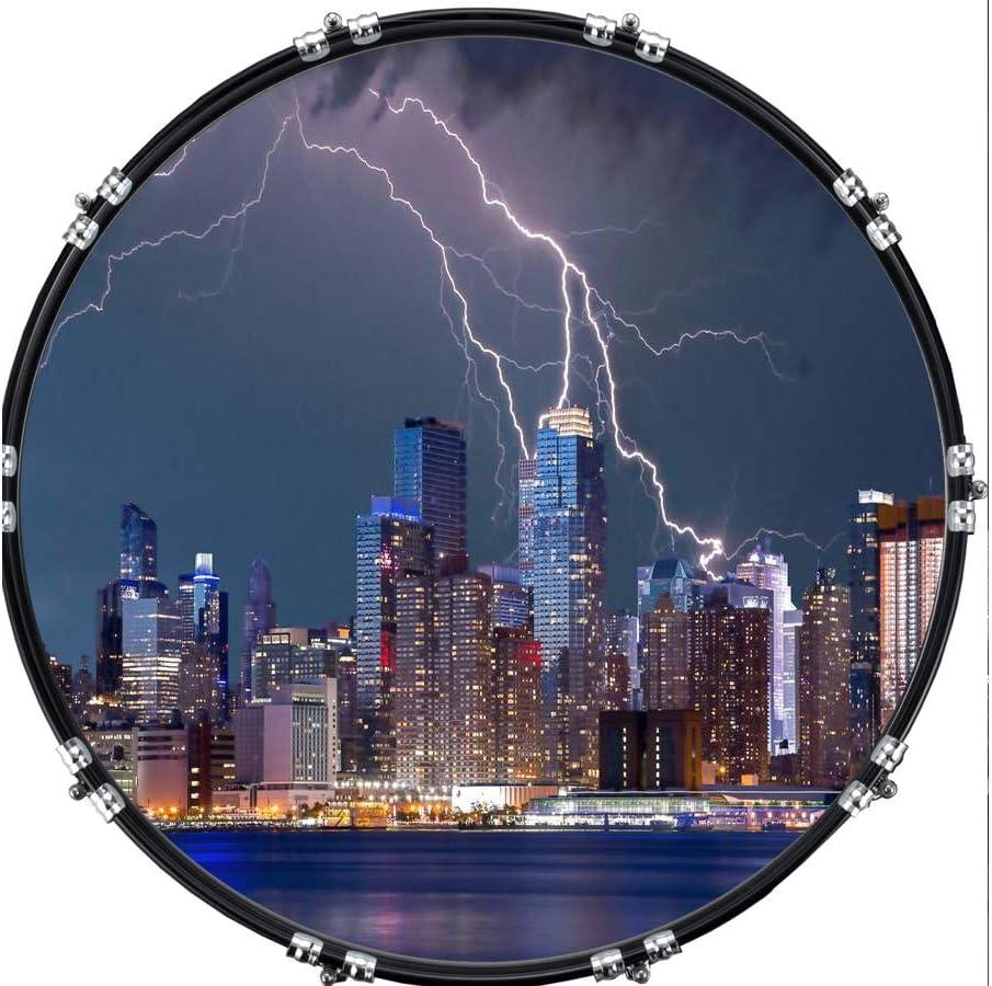 Custom Aquarian 22 Bass Kick Drum Head Front Drumskin City New York Storm
