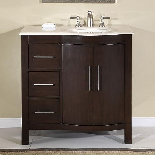 Silkroad Exclusive HYP-0912-CM-UWC-36-R Cream Marble Top Off Center Single Sink Bathroom Vanity