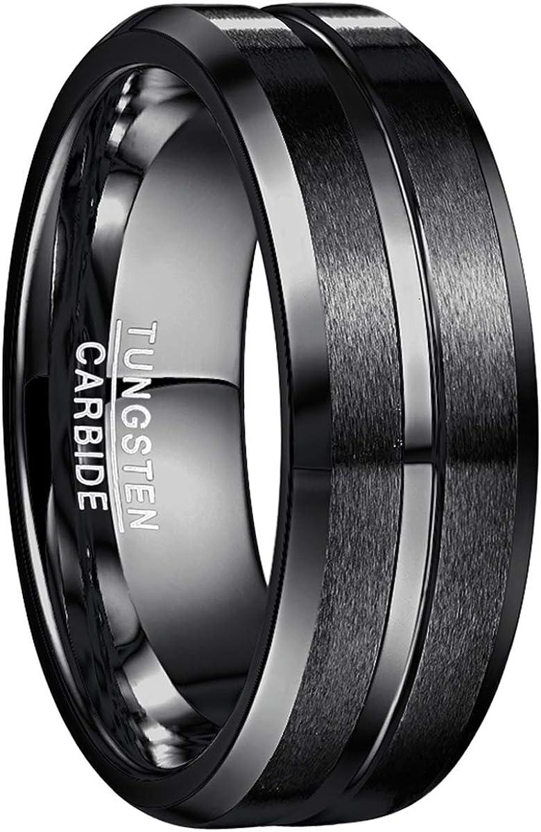 NUNCAD Men's 8mm Tungsten Carbide Ring Blue & Black Matte Finish Beveled Edge Wedding Band Size 4 to 17