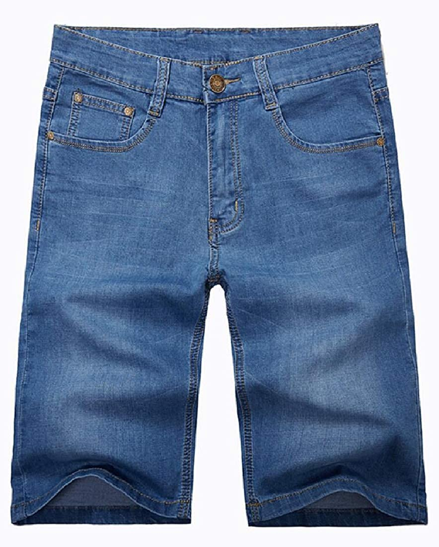 WSPLYSPJY Men Denim Shorts Pants Casual Straight Stretch Denim Shorts Jeans