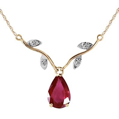 05953e87918c0 14k Solid Yellow Gold 1.52 Carat Natural Ruby Diamond Pendant Necklace