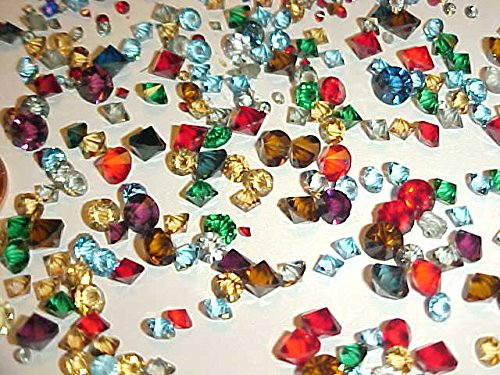 100 Pieces Vintage Glass Assorted Size & Color Unfoiled Rivoli Rhinestones - Jewelry Repair (100pcs)