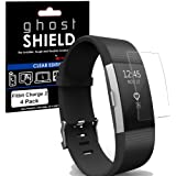 TECHGEAR [4 Pack] Screen Protectors to fit Fitbit Charge 2 [ghostSHIELD Edition] Genuine Reinforced Flexible TPU Screen Protector Guard Covers Full Screen Coverage inc Curved Screen