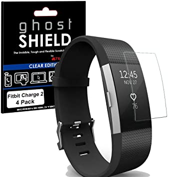 TECHGEAR [4 Pack] Screen Protectors to fit Fitbit Charge 2 [ghostSHIELD  Edition] Genuine Reinforced Flexible TPU Screen Protector Guard Covers Full