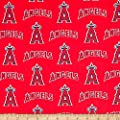 MLB Cotton Broadcloth Los Angeles Angels of Anaheim Red/Blue Fabric By The Yard