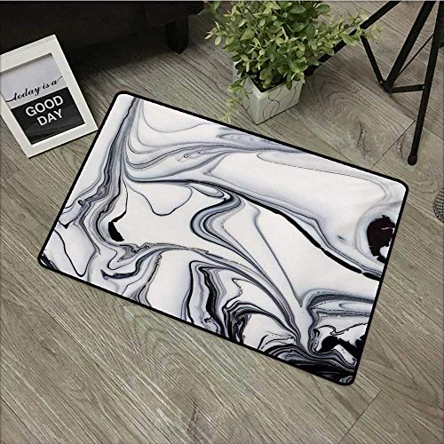 (Pool anti-slip door mat W24 x L35 INCH Marble,Trippy Mix of Colors with Unusual Forms Creative Paintbrush Style Image,Black Pale Grey Dust Natural dye printing to protect your baby's skin Non-slip Doo)