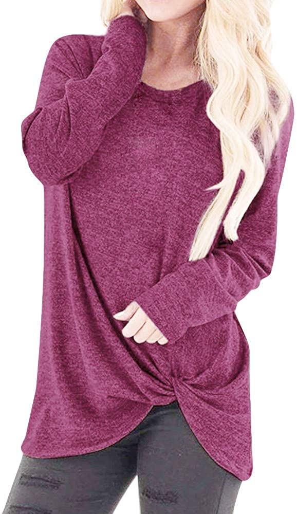 Womens Casual Solid Long Sleeve T-Shirt Tops Twist Knot Front Blouses Round Neck Tunic T Shirt