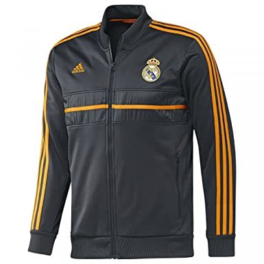 where to buy top quality release date: 2013-14 Real Madrid Adidas Anthem Jacket (Black-Orange)