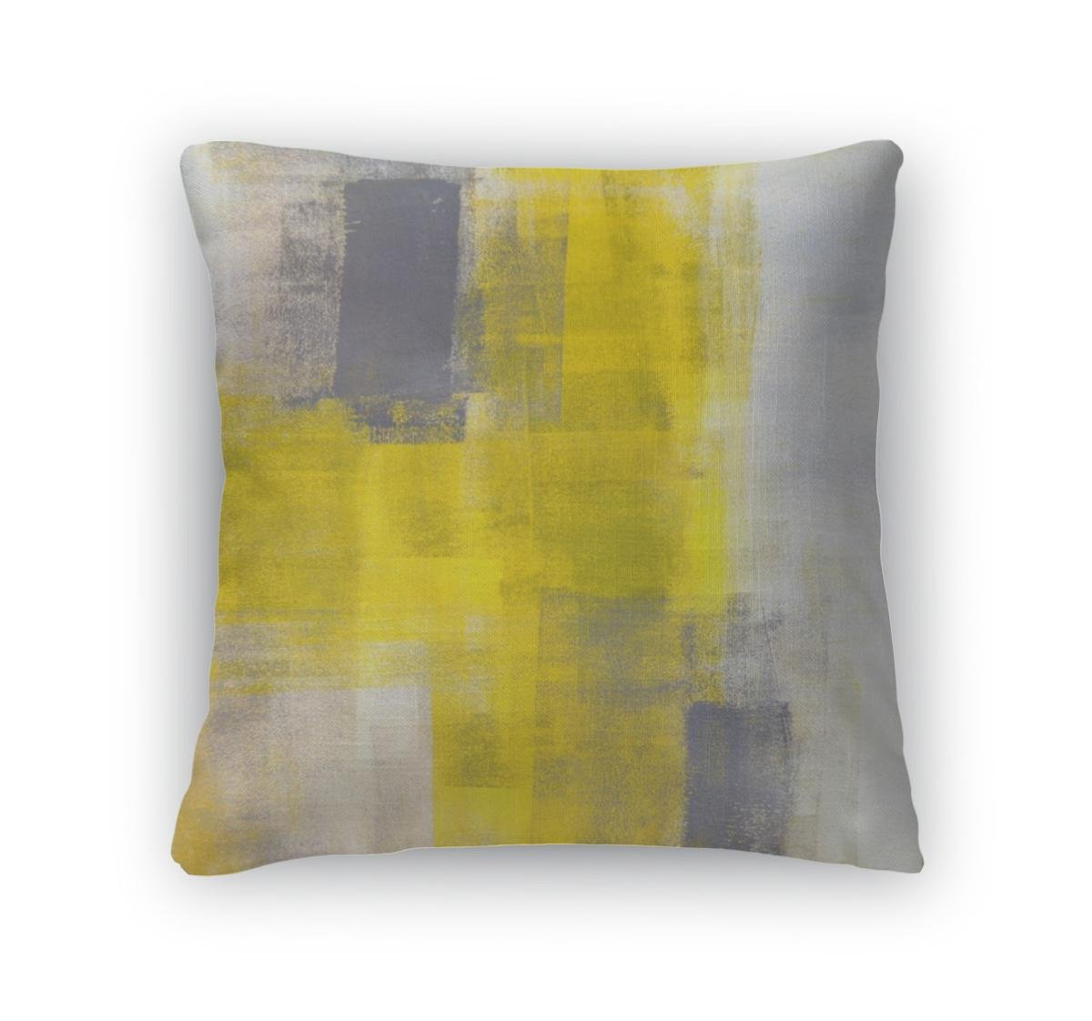 Gear New Grey And Yellow Abstract Painting Decorative Accent Throw Pillows for Couch, 16x16
