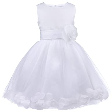 f338a35a8cc5b IEFIEL Robe Demoiselle d honneur Enfant Jupe Loose Pétales Noeud Papillon  au Dos Fleur Robe
