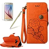 Flip Cover for Samsung Galaxy S8 Plus Wallet Case,Girlyard Retro Rose flowers Pattern Premium PU Leather Magnet Flip Bookstyle with Wrist Lanyard Kickstand Full Body Protective Case -Orange