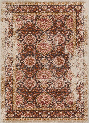 (Well Woven Modern Weave Distressed Traditional Vintage Persian Floral Brown Beige Dusty Pink 5x7 (5'3