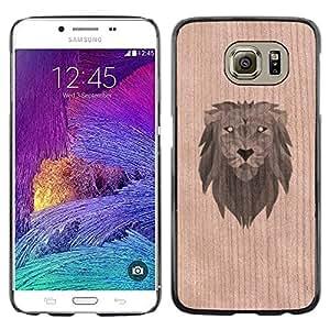 GIFT CHOICE / Teléfono Estuche Caso de madera de cerezo natural Duro Cáscara Funda Cubierta / Natural Cherry Wood Case for Samsung Galaxy S6 SM-G920 // Lion Jungle King Stylish Animal //