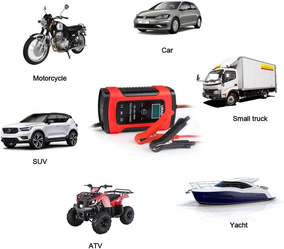 Rot URAQT Batterie Ladeger/ät Auto Motorrad 6A 12V Batterieladeger/ät Auto Erhaltungsladeger/ät mit Mehrfachschutz f/ür Auto Rasenm/äher oder Boot
