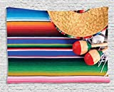 Ambesonne Mexican Decorations Collection, Mexican Artwork With Sombrero Straw Hat Maracas Serape Blanket Rug, Bedroom Living Room Dorm Wall Hanging Tapestry, 60W X 40L Inch