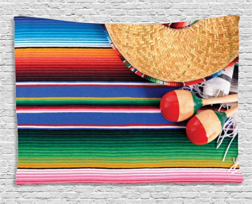Ambesonne Mexican Decorations Collection, Mexican Artwork With Sombrero Straw Hat Maracas Serape Blanket Rug, Bedroom Living Room Dorm Wall Hanging Tapestry, 60W X 40L Inch by Ambesonne