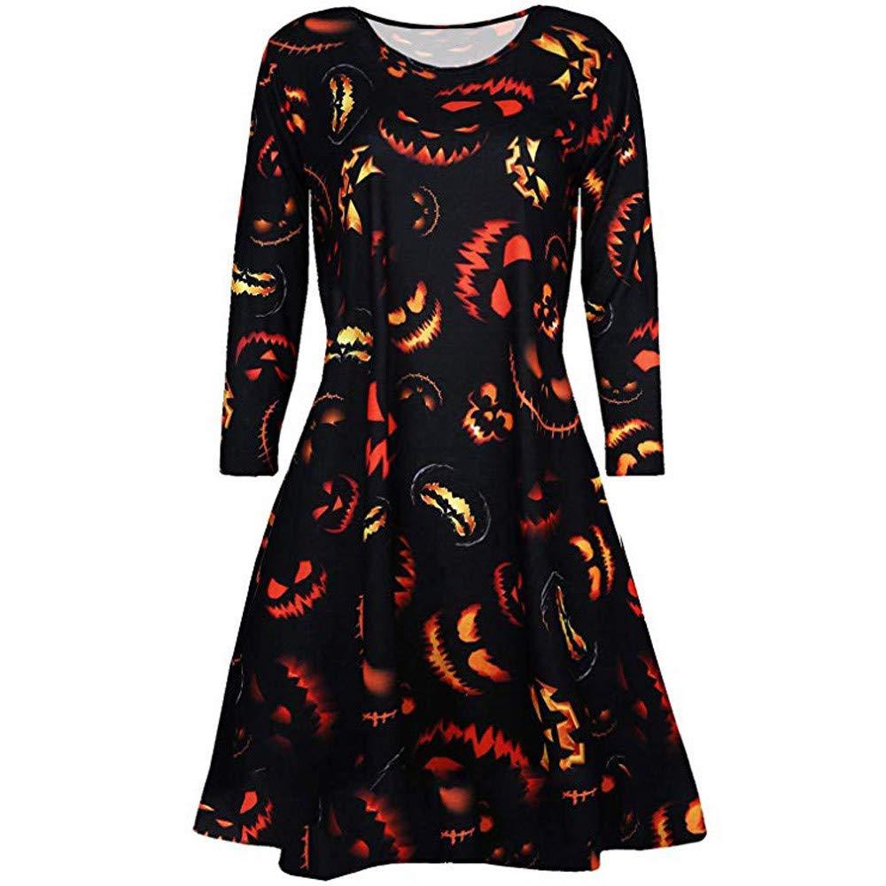 KUDICO Halloween Dress, Damen O Neck Kürbis Schädel Skater Abend Party Prom Swing Dress Vintage elegant A-Linie Schädel Kleid - Kliknij na obrazek aby go zamknąć