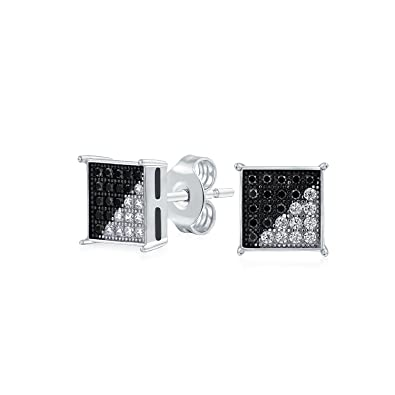 f8e37afc15c Black White Cubic Zirconia Micro Pave CZ Square Stud Earrings For Men 925  Sterling Silver 8MM