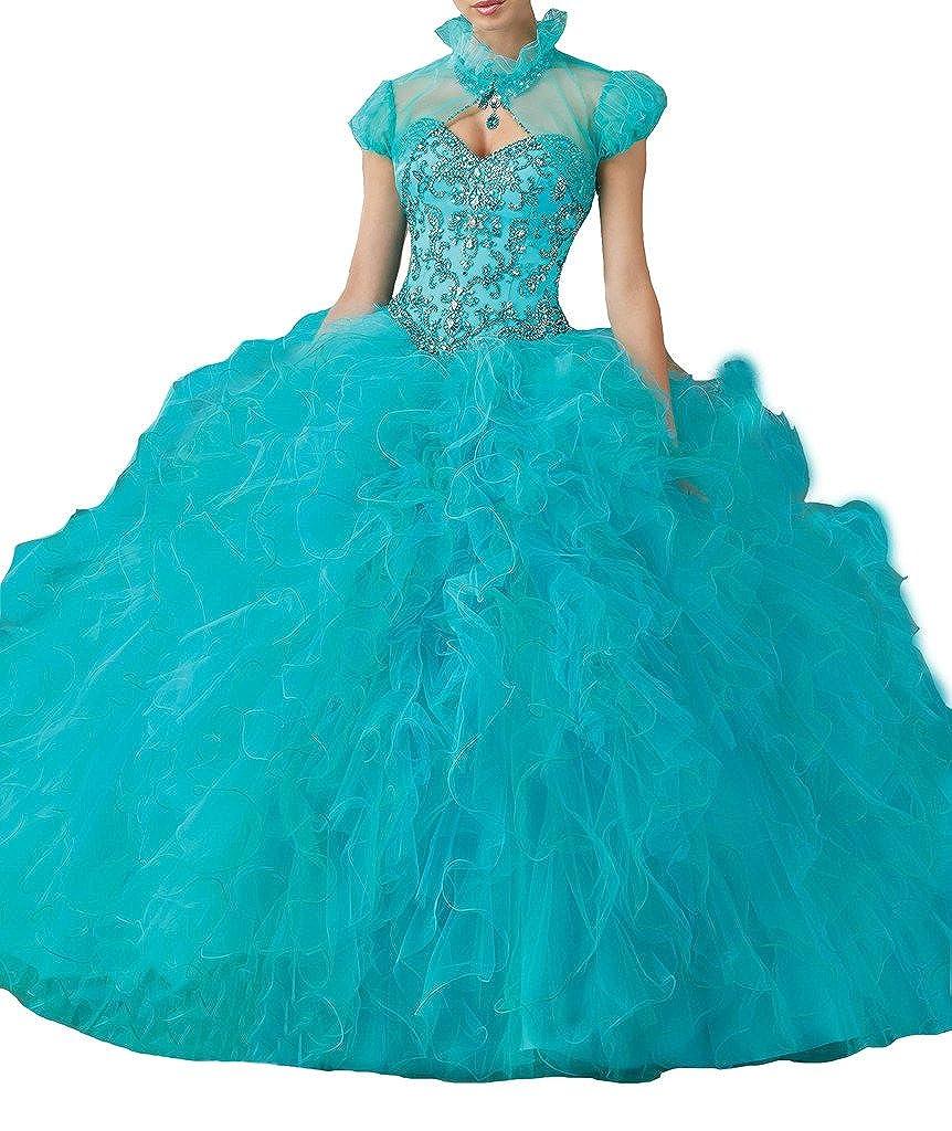 bluee PuTao Women's With Jacket Beads Sweet 16 Ballgown Quinceanera Dresses